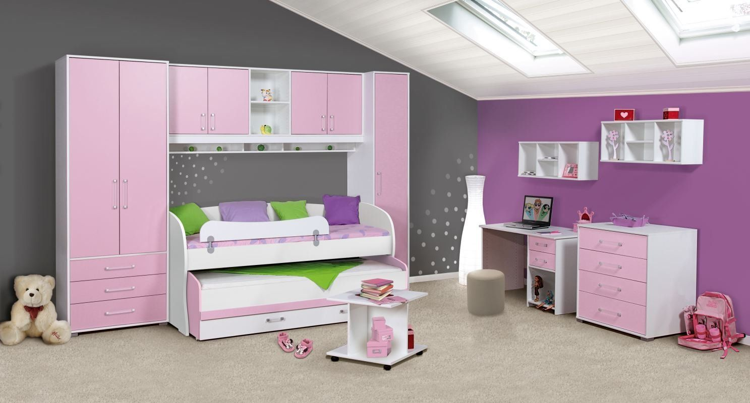 kinderzimmer komplettset in rosa weiss dreht renschrank kleiderschrank h ngeschrank. Black Bedroom Furniture Sets. Home Design Ideas