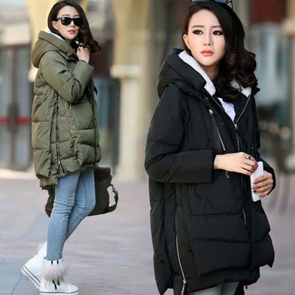 Women military winter casual outdoor coat hoodie jacket long trench