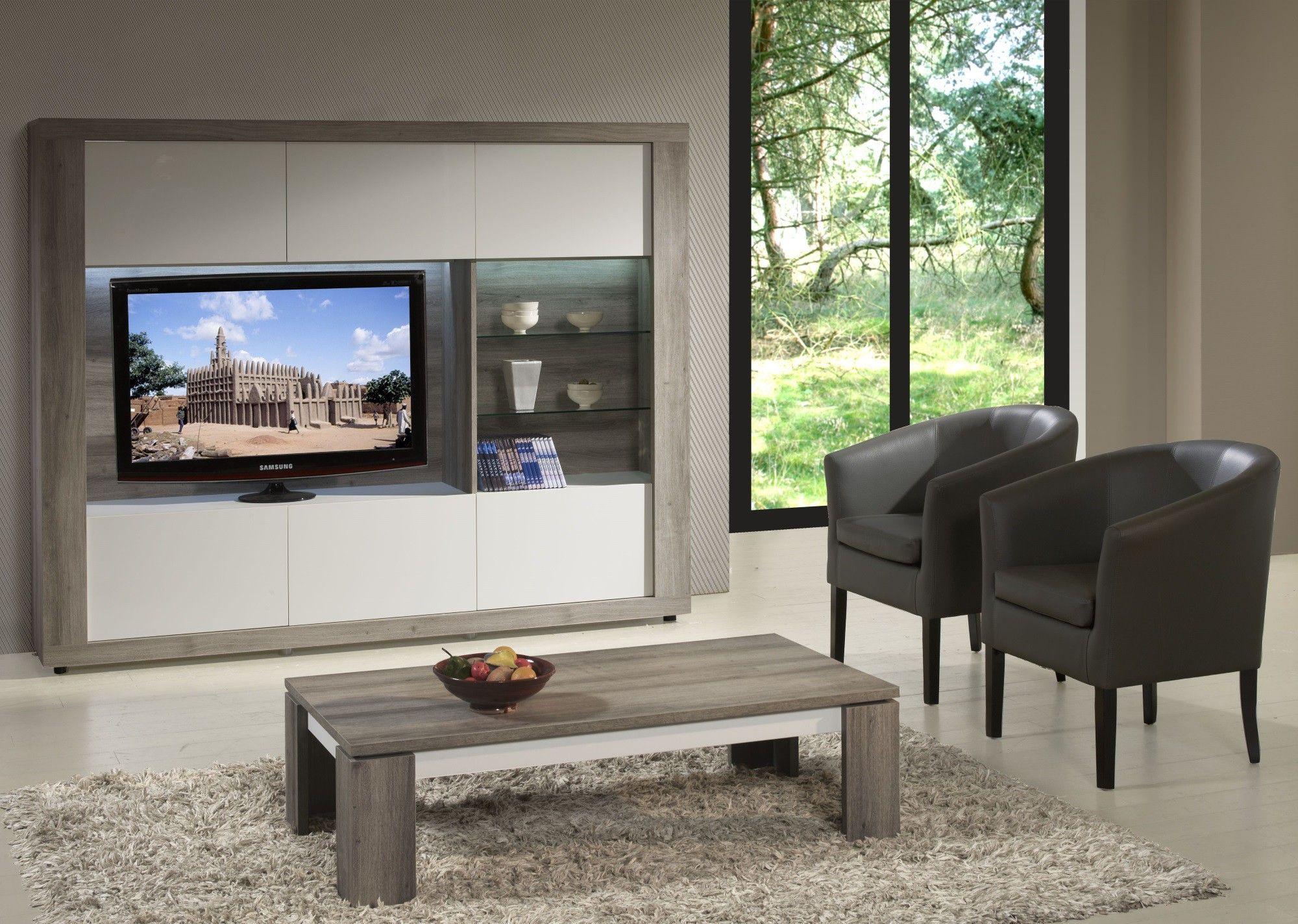 Meuble Tv Mural Contemporain Avec Clairage Coloris Mara Blanc  # Meuble Tv Mural Contemporain