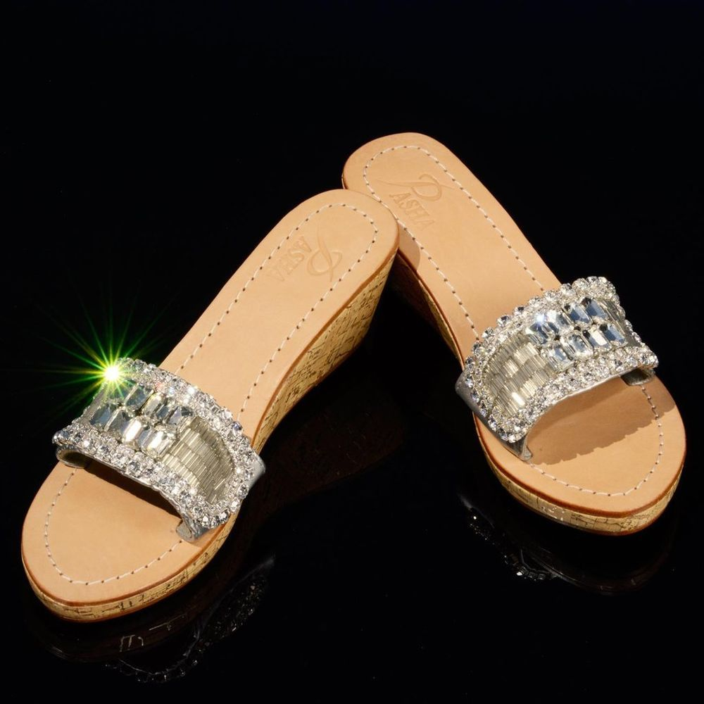 5108d2084 Details about Pasha LEMBATA crystal jeweled leather sandals