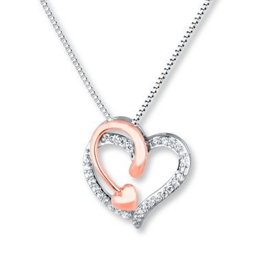 Heart Necklace 1 8 Ct Tw Diamonds Sterling Silver 10k Gold Heart Jewelry Sterling Silver Heart Sweet Necklace