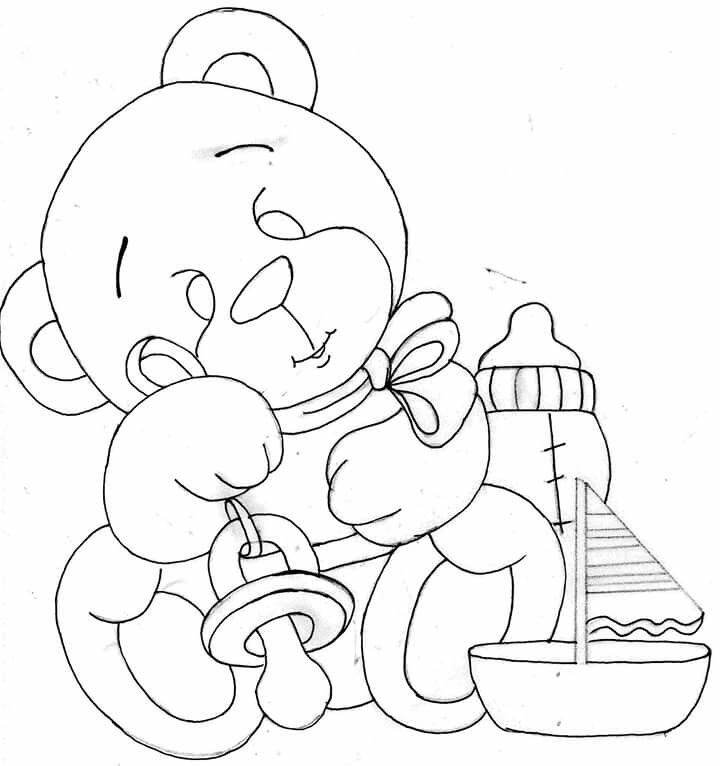 Ursinho Baby 1 Riscos Para Pintura Pinturas Em Tecido Fraldas