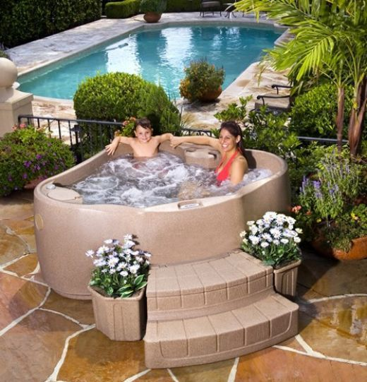 Portable spas garden hot tub pinterest spa hot tubs for Hot tub and sauna