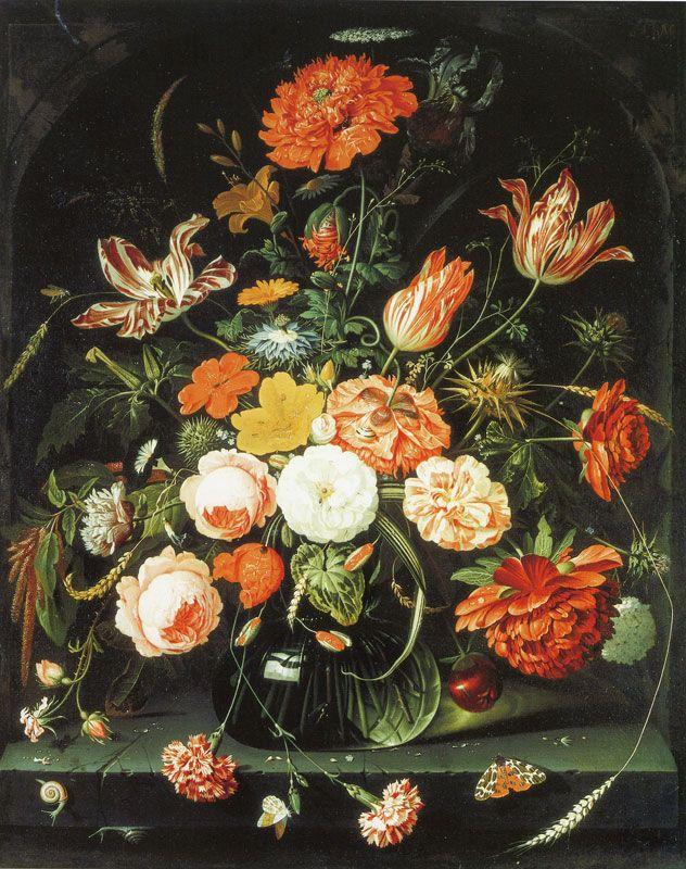 Abraham Mignon - A Vase of Flowers in a Niche | mignon & tzsch ... on bud vases, graveside vases, us metalcraft vases, floral vases, niche wall art, cemetery vases, niche flower holders,
