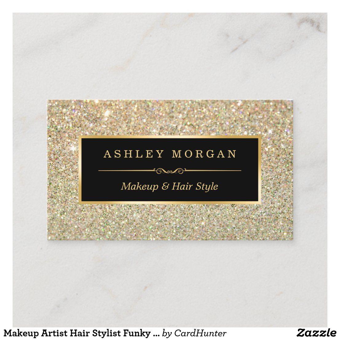 Makeup Artist Hair Stylist Funky Gold Glitter Business Card Zazzle Com In 2021 Glitter Business Cards Hairstylist Business Cards Stylist Business Cards