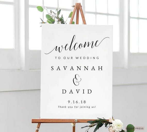 Wedding Sign Template For The Diy Bride Quickly And Easily Create A Beautiful Affordable Welcome With Printable Templates By Blush Press