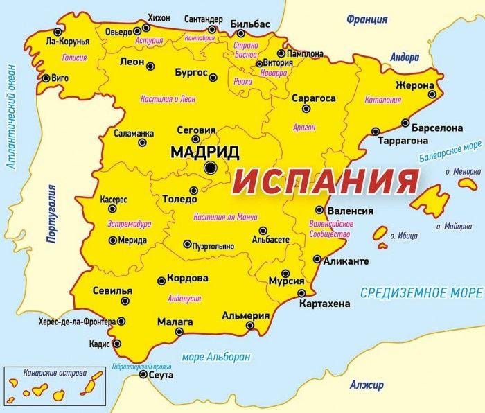 Karta Ispanii S Gorodami Plyazh Na Maldivah Ispaniya Balearskie