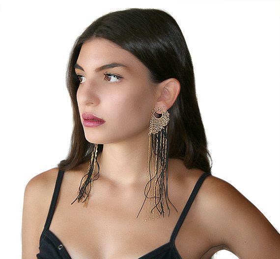 Really Long Artistic Earrings Wire Crocheted Leaf Attached To Ear And Fringe Made By Black Cord Gold Colored Br Chain
