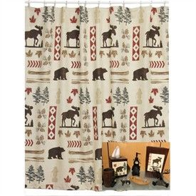 Awesome North Ridge Moose And Bear Shower Curtain And Bath Accessories