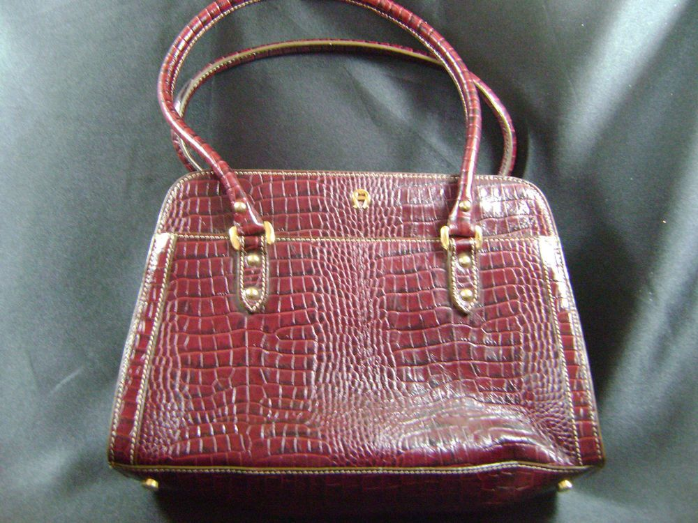 ETIENNE AIGNER - Burgundy Croc Patterned Purse Bag Handbag Satchel - EUC #EtienneAigner #Satchel
