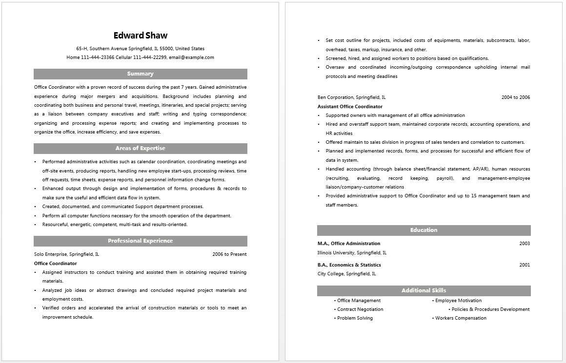 Office Coordinator Resume  Resume  Job
