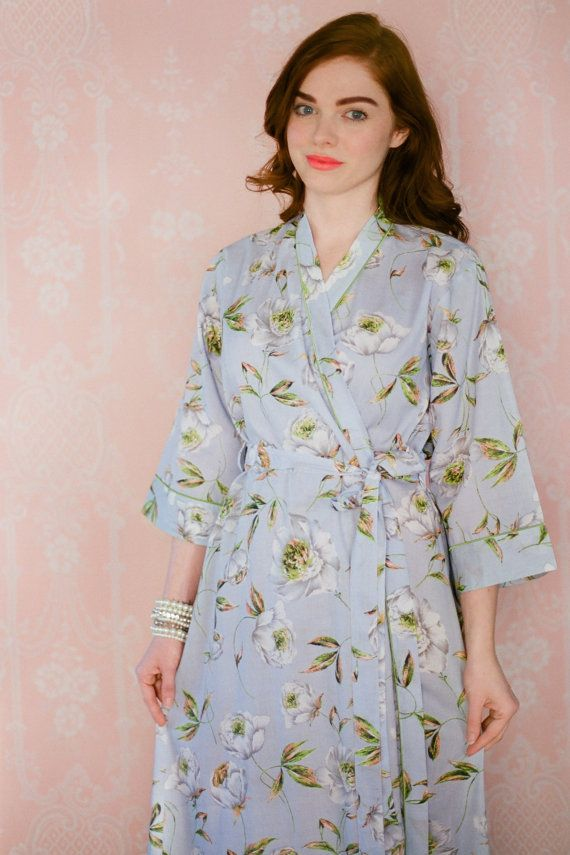 d88818e64f 2 CUSTOM full length lined cotton robes or womens by Singing Slowly. Long  cotton dressing gowns lined at the skirt   bodice.