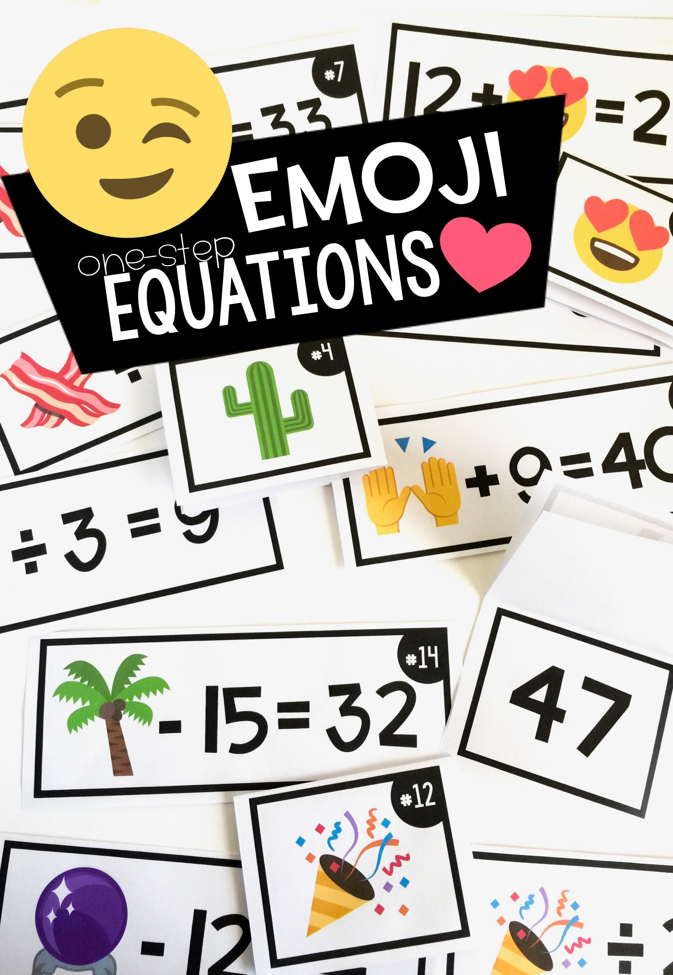 Emoji Math Activity With One Step Equations