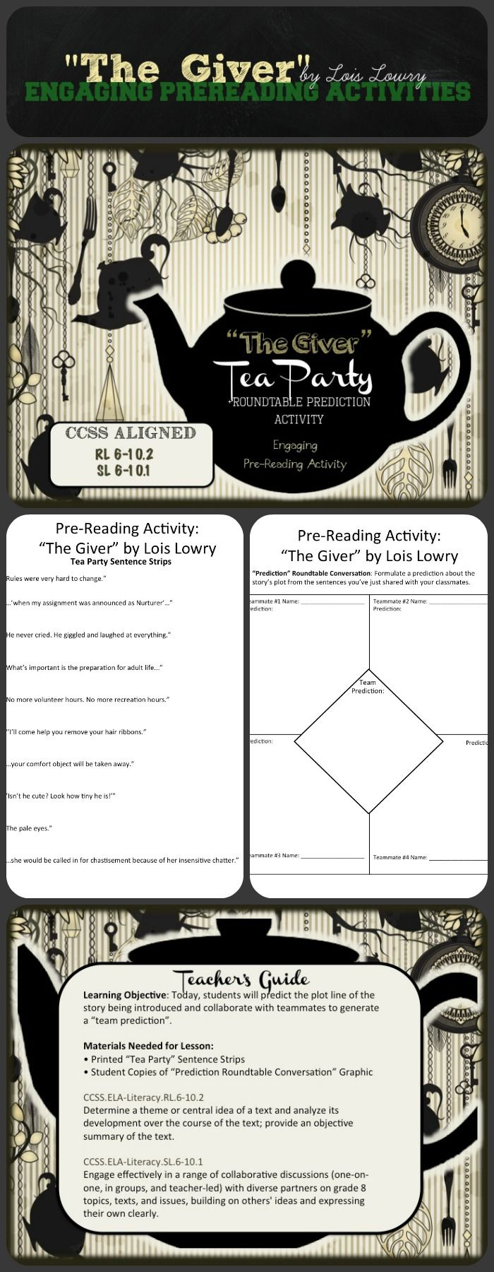 p>the giver study guide contains a biography of lois lowry the giver pre reading activities tea party roundtable prediction