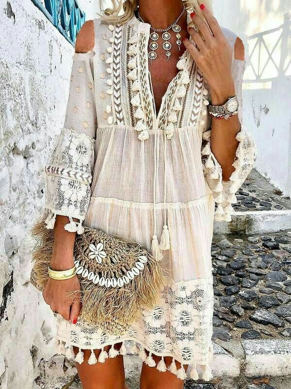 Boho  Off The Shoulder Tassel Dress Summer