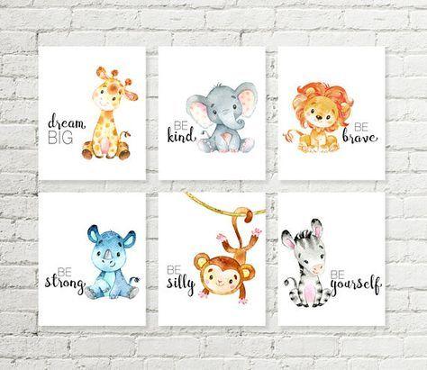Safari Nursery Print Giraffe Elephant Lion Rhino Monkey Zebra Jungle Animals Printable Wall Art Baby Shower Gift 5×7 8×10 10×10 A4 Set of 6