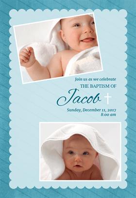 Stamped Frame Blue Christening Invitations Boy Christening Invitations Baby Dedication Invitation