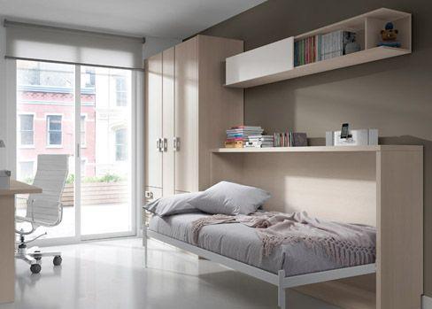Habitaci n juvenil niu pr ctica y funcional con cama a abatible y estanter a corredera gran - Habitacion juvenil cama abatible ...