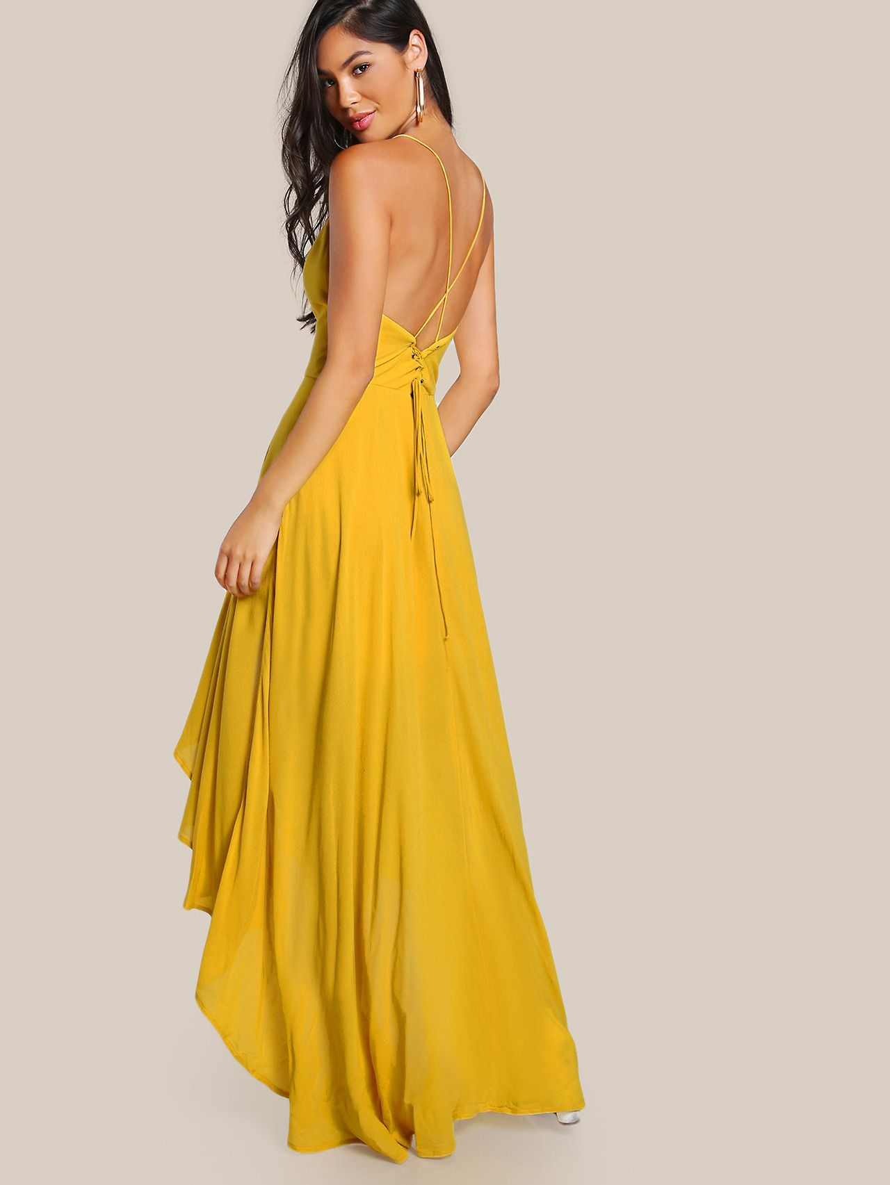 Sheinside Backless High Low Cami Dress Cami Maxi Dress