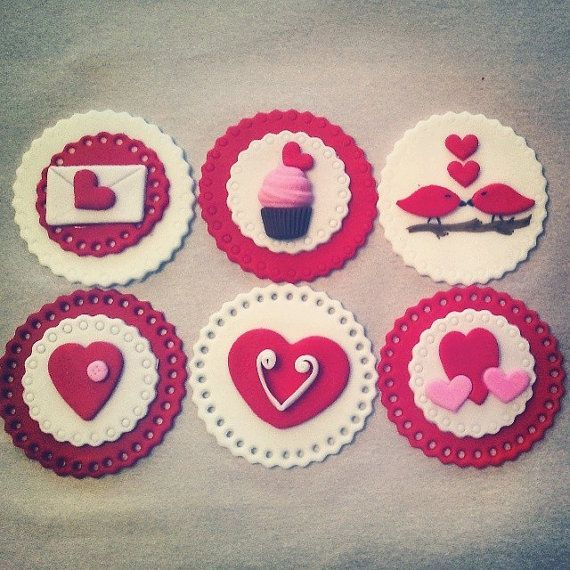 Valentine S Day Edible Fondant Cupcake Cookie Toppers On Etsy
