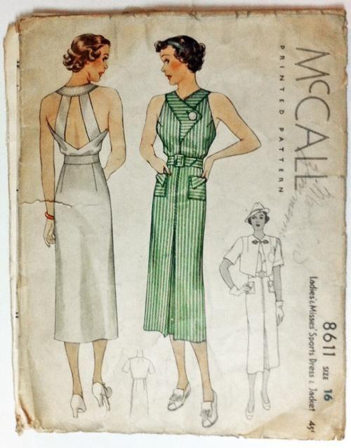 McCall 8611 | Moda vintage, Patrones de costura vintage y Vestidos ...