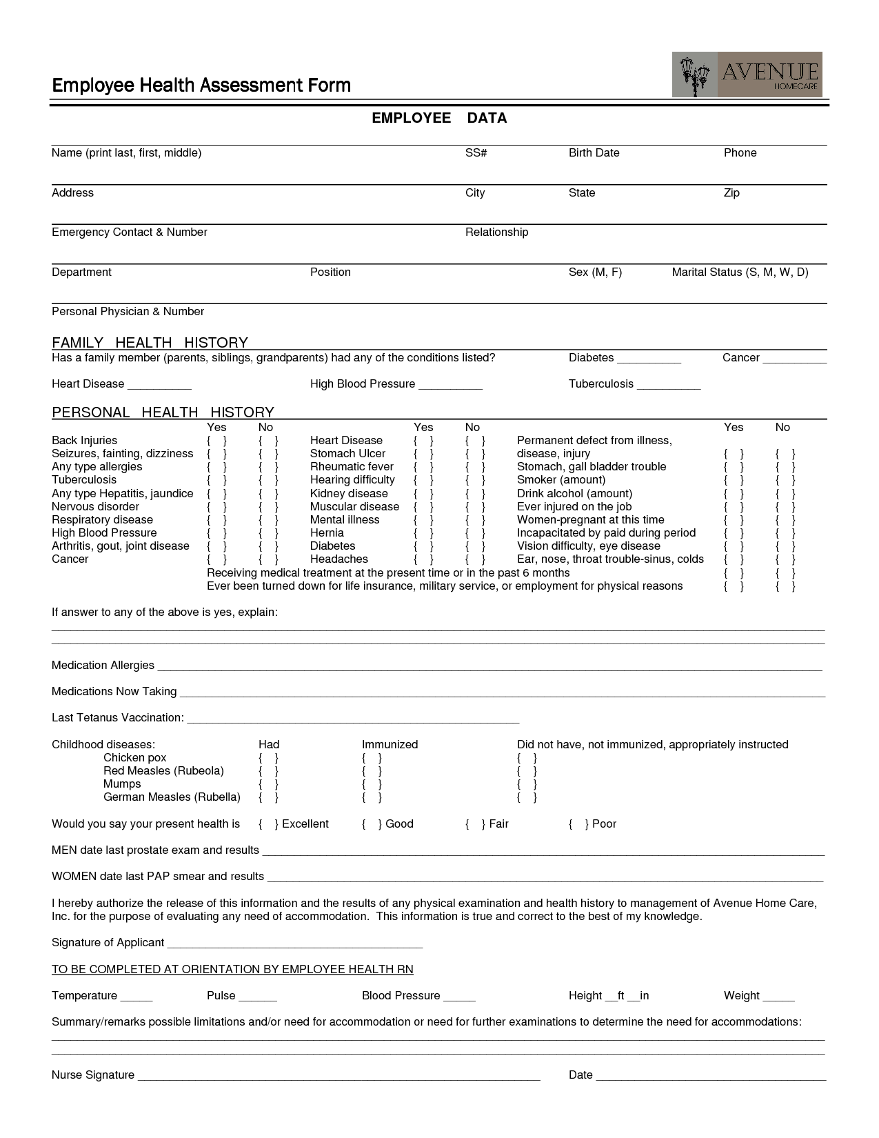 employee health assessment form employment health assessment form