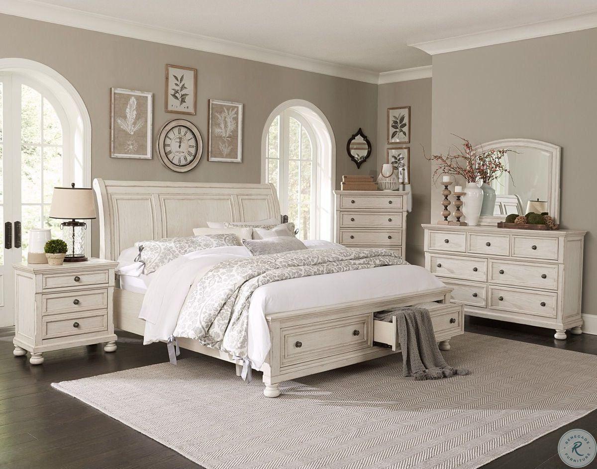 Abbey Park Antique White Panel Bedroom Set Master Bedroom Furniture White Bedroom Set Platform Bedroom Sets White master bedroom set