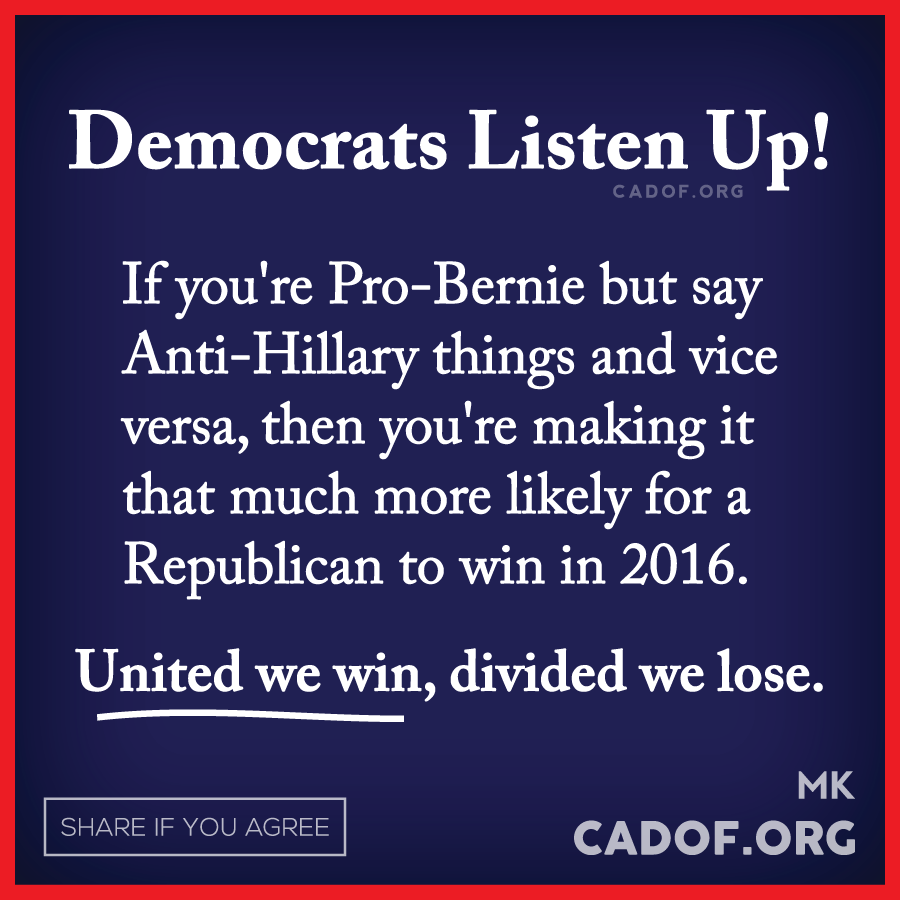 I expect republicans to sling dirt; but not democrats. ~ Whether you're feeling the BERN, or standing with Hillary; stay positive and focus on the strength of your candidate of choice.  Keep the mud slinging on the republican side of this election.  They look like bickering 12 year olds!!