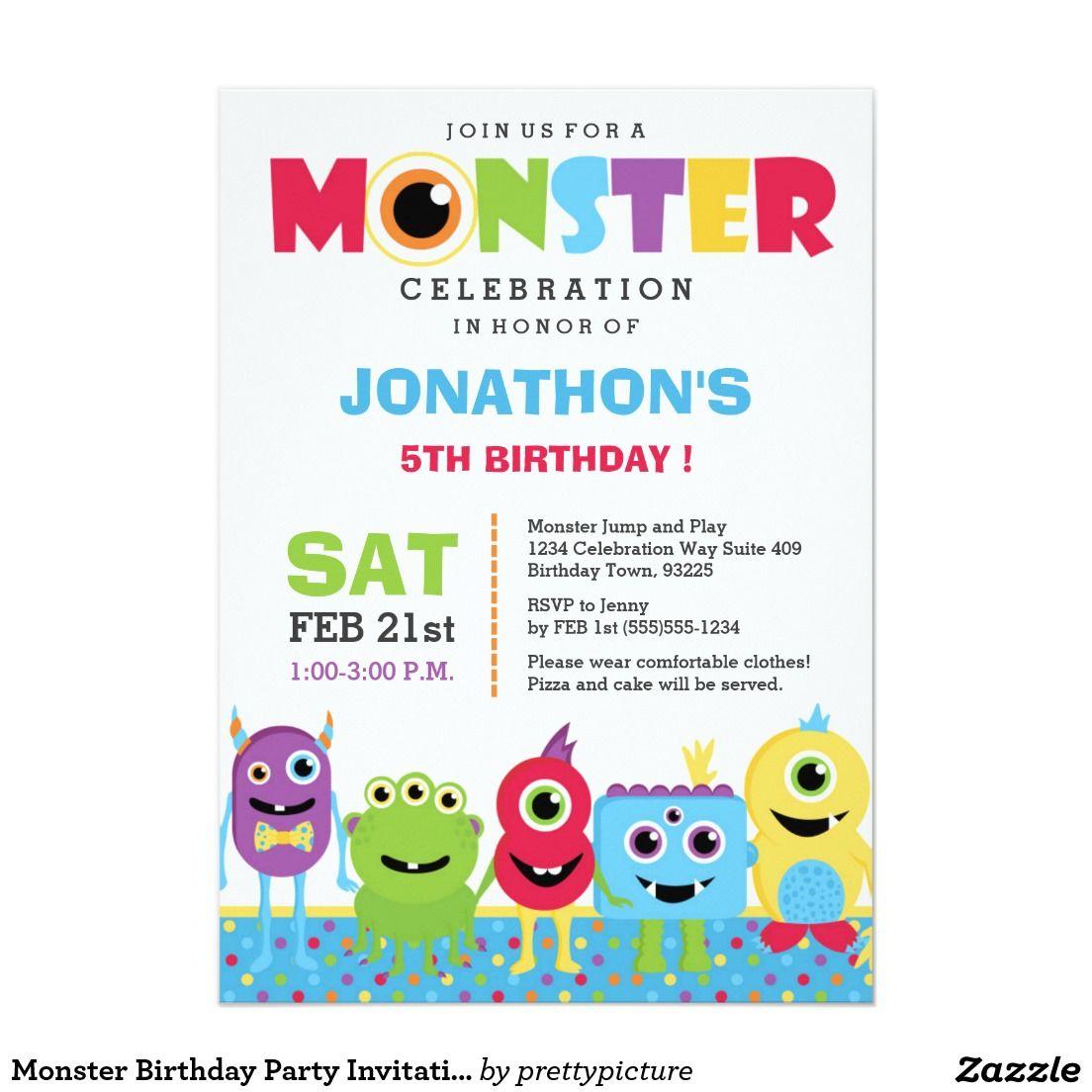 Monster Birthday Party Invitation | Party invitations, Zazzle ...