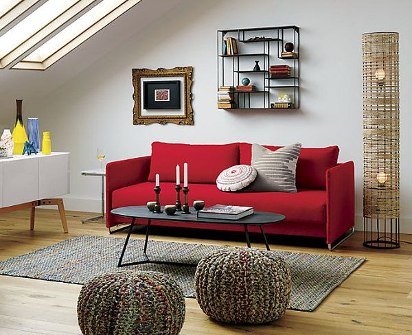 Living Room Decor With Red Sofa small cabin decorating ideas and inspiration | simple living room