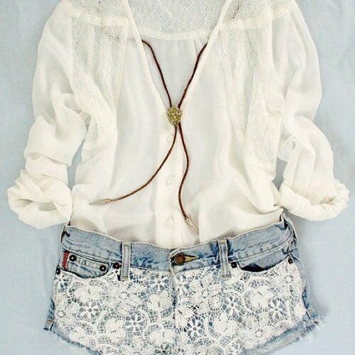 Boho top, lace shorts❤️❤️❤️ so cute!!