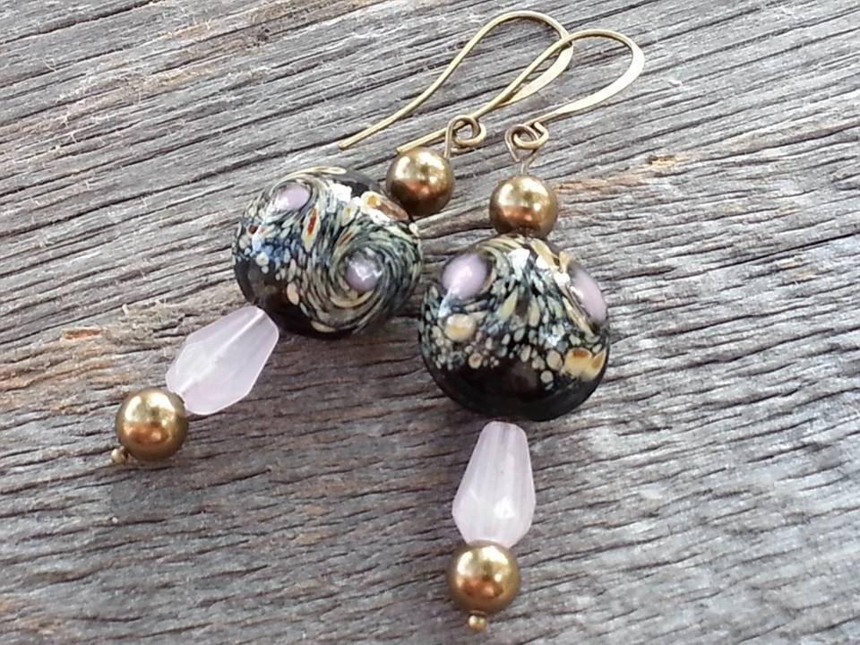 Handmade Earrings-Porcelain Black Beads w/ Colorful Swirls-Frosted Pink Czech Glass Tear Drops-Swarovski Glass Pearls-Stunning! by JoeisStuff on Etsy