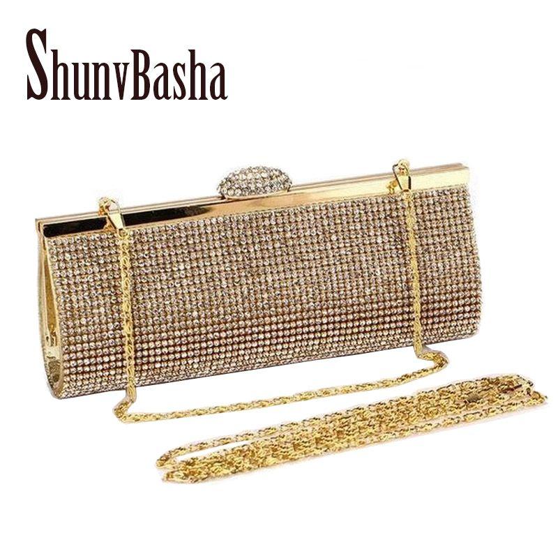 1f6173141d4 Women Rhinestone Evening Clutch Bag Ladies Gold Clutch Purse Chain Handbag  Bridal Wedding Party Purse