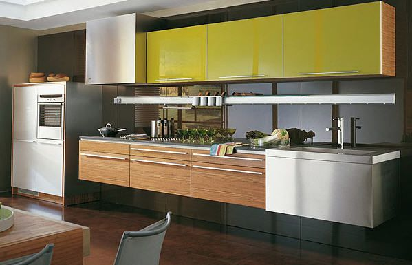 contemporary wood veneer kitchen (one-wall, suspended) g645