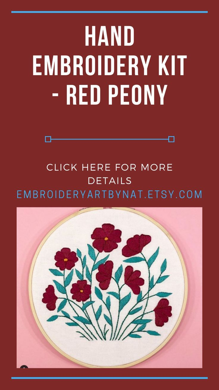Hand Embroidery KIT  Red Peony  Embroidery DIY Kits for beginners