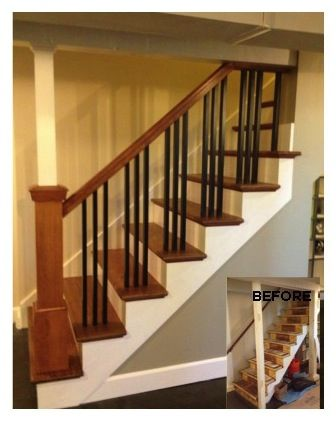 Best Brazilian Cherry Tread Fir Newel Post And Iron Balusters 640 x 480