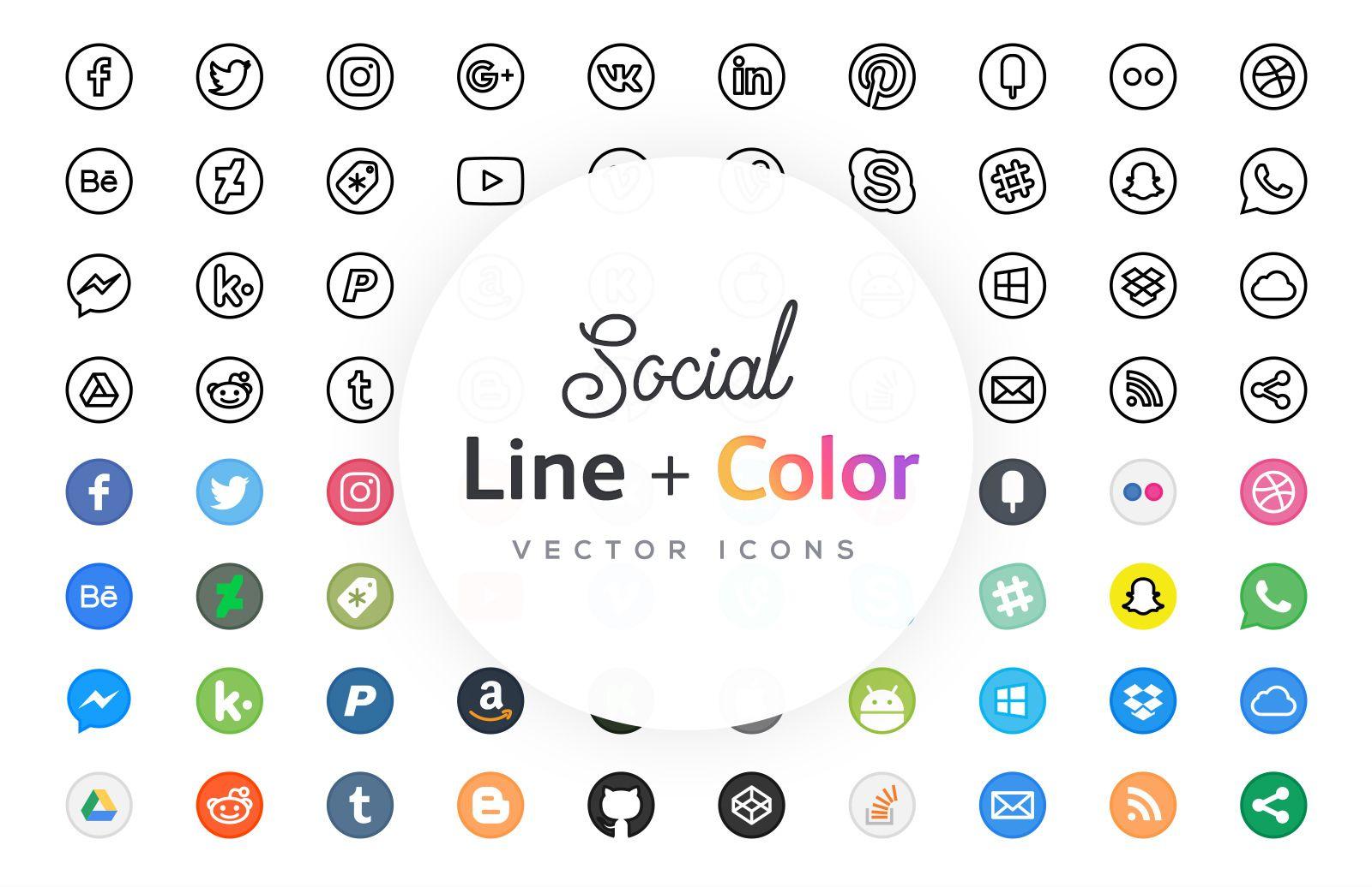 Free Line Icons Social Line icon, Social icons, Icon set