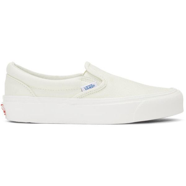 Vans Off-White OG Classic LX Slip-On Sneakers ($60) ❤ liked on Polyvore featuring shoes, sneakers, vans trainers, slip on shoes, slip-on shoes, vans footwear and elastic shoes