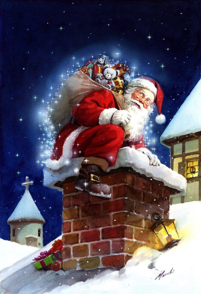 Santa Ingresando Por La Chimenea Marchi Christmas And New Year Art Very