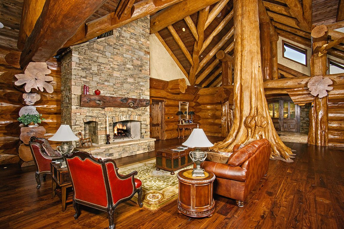 harry scott s arkansas home loghome log home interior living room log living room log furnishing wood floors pioneer log homes