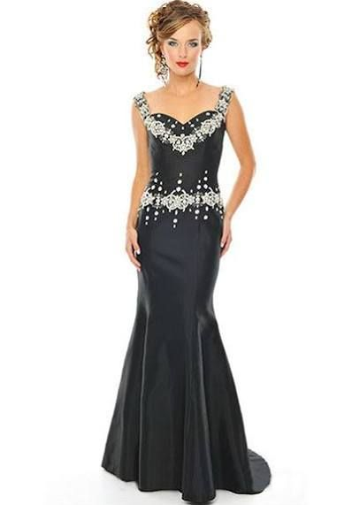 Vintage Style Black Taffeta Evening Dress with White Decorations ...