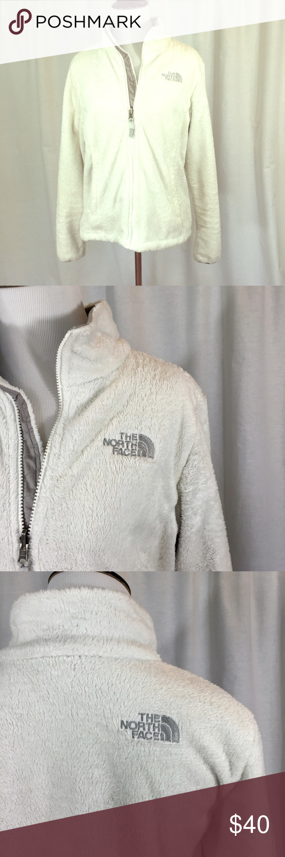 The North Face // Osito Jacket White Fleece Super soft, deep-pile polyester fleece makes this lightweight North Face jacket warm and cozy. Zipper pockets. Elastic at sleeve cuffs. Adjustable hem. Relaxed fit. Good condition, some pilling at hips (shown in last photo), cuffs, and inside pockets. trades smoke free home The North Face Jackets & Coats