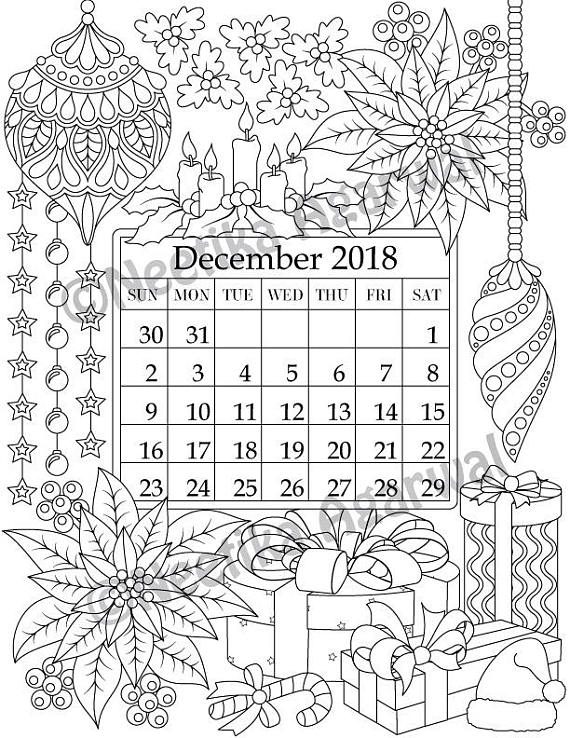 December 2018 Coloring Page Calender Planner Doodle Coloring Calendar Coloring Pages Coloring Books