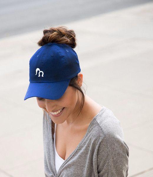 blue streak ponytail baseball cap wear it two ways