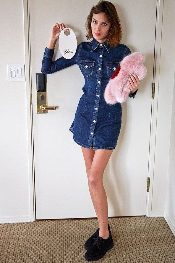 5116a48c07 Alexa Chung wearing The Pixie Dress from her collection with AG Jeans.   ACforAG available globally January 20th.