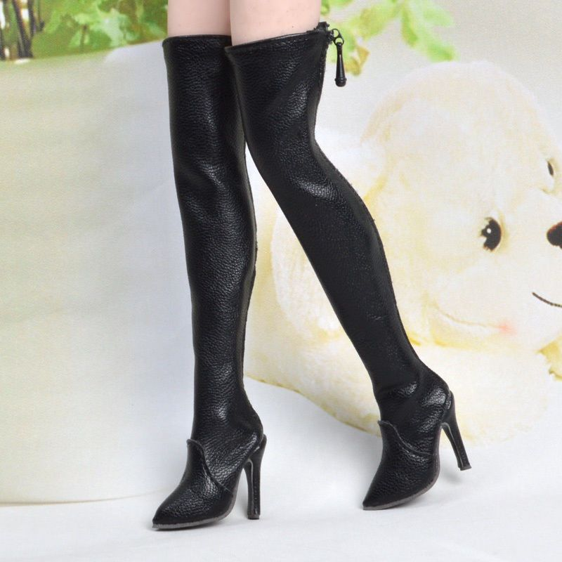 5956f8955ae Details about 1/6 Black Female Long Boots High-heeled Shoe Model F ...