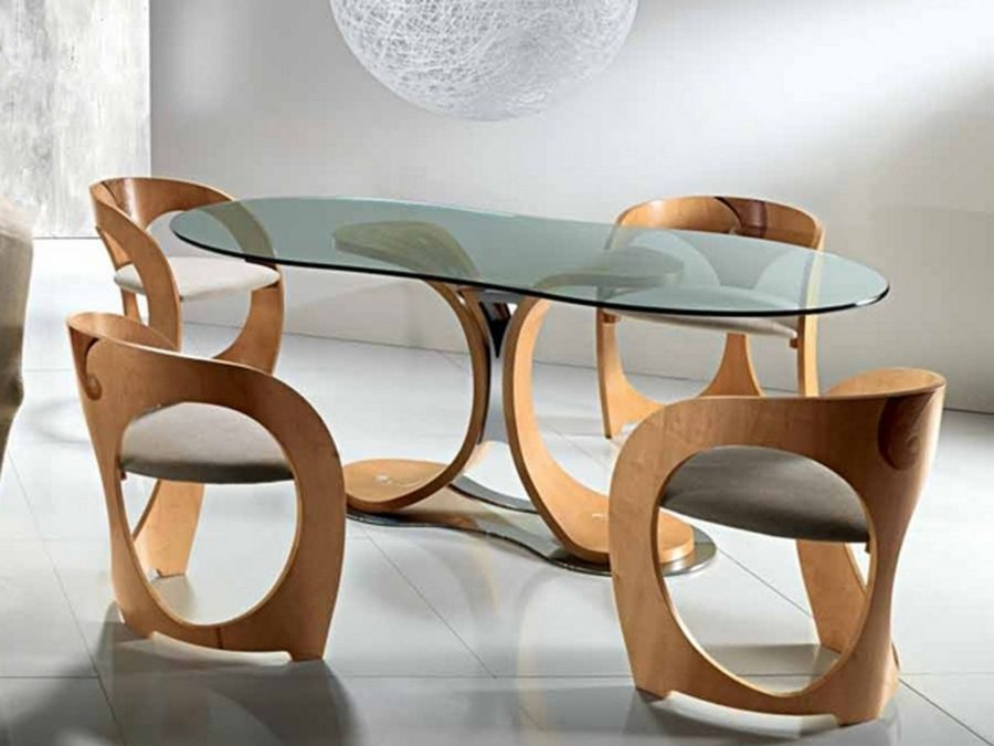 Elegant Dining Room Sets Chairs With Modern Curved Wood Decoration Ideas And Modern Glass Table Dining Table Design Glass Dining Table Oval Glass Dining Table