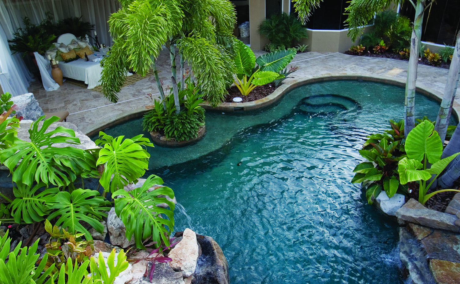 image detail for outdoor bedroom by lagoon pool outdoor design by lucas. beautiful ideas. Home Design Ideas