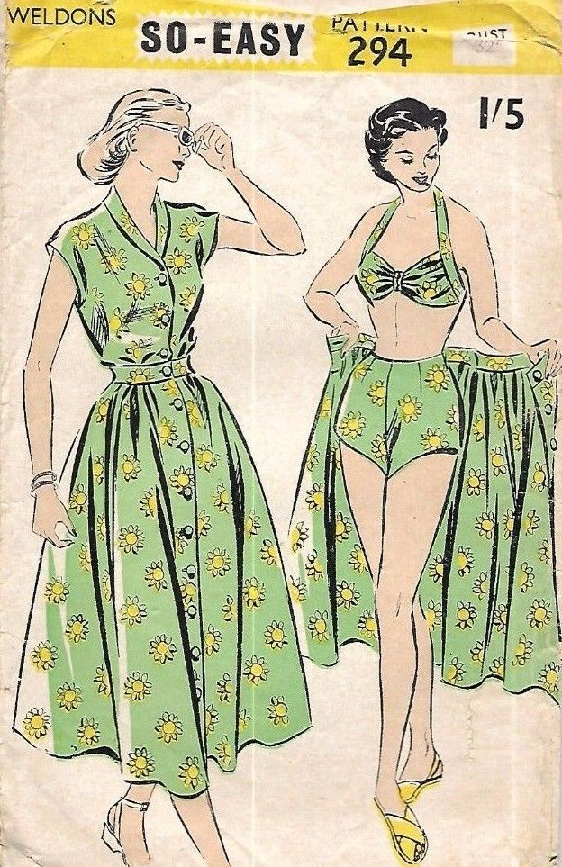 Vintage 1940s Sewing Pattern Four Piece Bikini Shorts Beach Outfit Pin Up B 32 | eBay