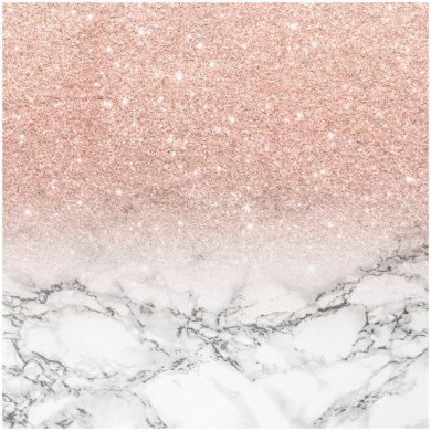 Custom Faux Rose Pink Glitter Ombre White Marble Wrapping